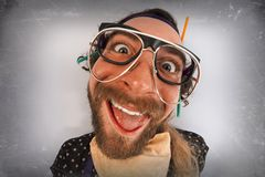 Bearded Crazy Person Lunatic Royalty Free Stock Photography