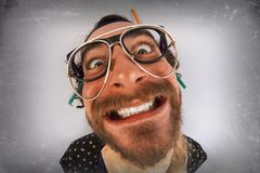 Bearded Crazy Person Lunatic Royalty Free Stock Photo