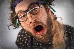 Bearded Crazy Person Lunatic Royalty Free Stock Photos