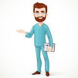Bearded doctor in green surgical suit holding medical history Royalty Free Stock Images