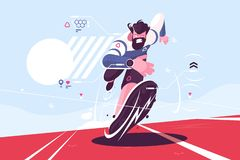 Bearded dude running fast on stadium. Vector illustration. Man in sport watch with pulse and location data on race track flat style concept. Runner sprinter guy royalty free illustration