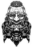 A bearded dwarf in steampunk glasses royalty free illustration