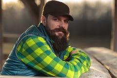 Bearded farmer at sunset Stock Photos