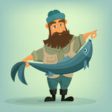 Bearded fisherman with big fish in his hands
