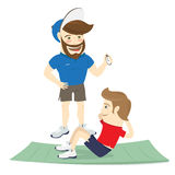 Bearded fitness personal trainer instructor and funny sportsman. Vector illustration  Bearded fitness personal trainer instructor and funny sportsman doing abs Stock Photos