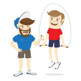 Bearded fitness personal trainer instructor and funny sportsman. Vector illustration  Bearded fitness personal trainer instructor and funny sportsman doing Royalty Free Stock Photo