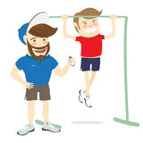 Bearded fitness personal trainer instructor and funny sportsman. Vector illustration Bearded fitness personal trainer instructor and funny sportsman doing pull Stock Photo