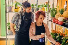 Bearded flower seller and a redhead female watering flower bouqu. Ets stock image