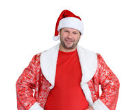 Bearded funny man dressed as Santa Claus on white background. Royalty Free Stock Photo