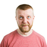 Bearded funny man in shirt looking up Royalty Free Stock Photos