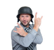 Bearded funny man in tie and helmet showing fingers on white Royalty Free Stock Image