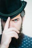 Bearded gentleman in black retro hat Royalty Free Stock Photos