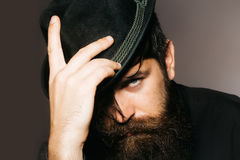 Bearded gentleman in black retro hat Royalty Free Stock Photography