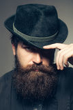 Bearded gentleman in black retro hat Stock Photo
