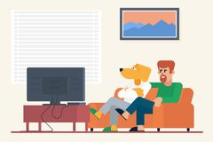 Bearded guy with antropomorphic dog buddy sitting on sofa and watching movie on TV at home vector illustration. Bearded guy with antropomorphic dog buddy vector illustration