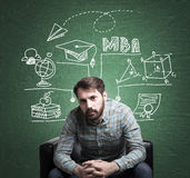 Bearded guy and MBA sketch Royalty Free Stock Photo