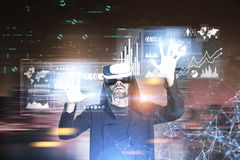 Bearded hacker in a night city, polygons Royalty Free Stock Photography