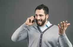 Man Angry with Phone royalty free stock photography