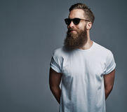 Bearded handsome man with sunglasses looking over Stock Image