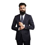 Bearded handsome man wearing smart suit Stock Images