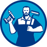 Bearded Handyman Cordless Drill Paintroller Circle Retro Royalty Free Stock Images