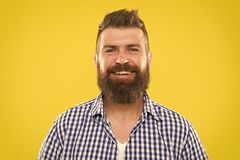 Bearded and happy. Man bearded rustic hipster stylish beard yellow background. Barber tips maintain beard. Stylish beard. And mustache care. Hipster appearance royalty free stock images