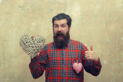 Bearded happy man with two hearts Stock Image
