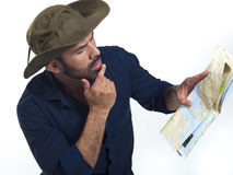 Bearded Hiker with Map Stock Image