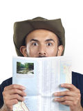 Bearded Hiker with Map Royalty Free Stock Image