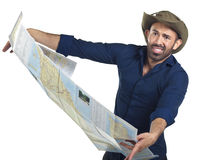 Bearded Hiker with Map Royalty Free Stock Images