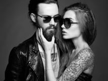 Bearded Hipster boy and beauty girl royalty free stock image