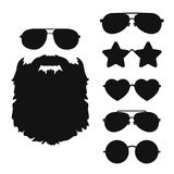 Bearded hipster face black silhouette and Sunglasses icon collection. Stock Photos