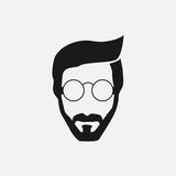 Bearded hipster face black silhouette. Vector illustration Royalty Free Stock Photo