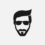 Bearded hipster face black silhouette. Vector illustration Royalty Free Stock Photos