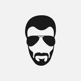 Bearded hipster face black silhouette. Vector illustration Royalty Free Stock Image
