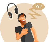 Bearded hipster in hat dansing to music royalty free illustration