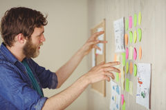 Bearded hipster looking at brainstorm wall Royalty Free Stock Photo