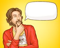 Bearded man in fashioned clothes and speech bubble royalty free stock photos