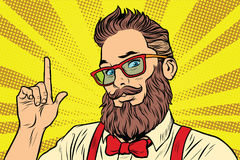 Bearded hipster man portrait pointing finger stock illustration