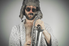 Bearded Hipster Saxophone Stock Image