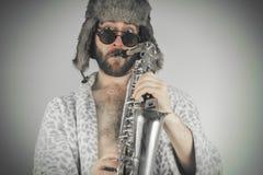 Bearded Hipster Saxophone Stock Image