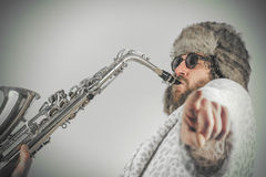 Bearded Hipster Saxophone Royalty Free Stock Photography