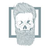 Bearded hipster skull with stylish hairstyle. Stock Image