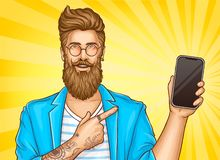 Bearded hipster with tattoos point on smartphone stock photography