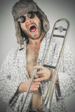 Bearded Hipster Trombone Royalty Free Stock Photography