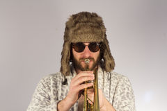 Bearded Hipster Trumpet Stock Photo
