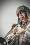 Bearded Hipster Trumpet Stock Photography