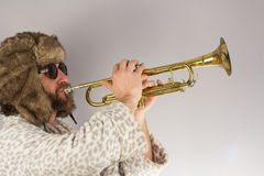 Bearded Hipster Trumpet Royalty Free Stock Images