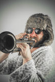 Bearded Hipster Trumpet Stock Photos