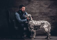 Bearded hunter wearing elegant clothes sitting on a sofa with his white English setter. Studio photo against a dark textured wall stock photo